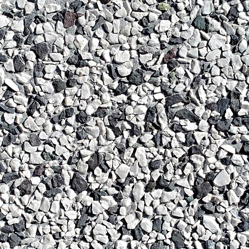 5.09 White/Black crushed stone 8 - 11 mm, gray cement