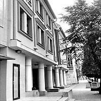 Poprad - Bank building - white round structural columns and facade elements, 1995